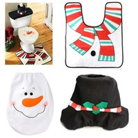 Wholesale 3 In Cute Santa Toilet Seat Cover and Rug Bathroom Set Contour Rug Christmas Home Decoration Bathroom Accessories E5M1 order lt no track