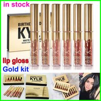 Wholesale New Kylie Lord Metal Gold LIMITED EDITION Lipstick Kylie Cosmetics COLLECTION Birthday Edition lip gloss LEO Matte Lipstick colors