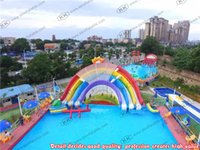big inflatable water slides - City Residential Slip Rainbow Inflatable Water Slide For Big Frame Pool Parks