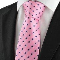 Corbata Corbata de los hombres Corbata del lazo para hombre de los azules marinos del rosa del lunar para los hombres Corbata del juego para el banquete de boda formal KT1045 del negocio