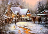 Wholesale Christmas Painting Famous - A Christmas Welcome-Thomas Kinkade Reproduction,famous Landscape paintings,High quality,Hand-painted