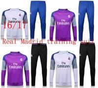 Wholesale 2016 real Madrid football jersey football suits running training under training suit football fleece jackets running jacket