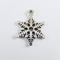 antique copper findings - 40PCS Antique Silver Copper Snowflake Pendant Charms Jewelry Finding mm jewelry making