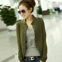 Wholesale 2016 Autumn Women Female Double breasted Jacket Korean Slim Casual Outwear Ladies Long Sleeve Stand up Small Short Coats