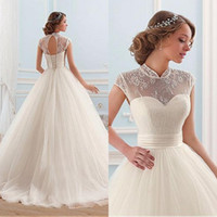 Wholesale Lace Wedding Dress Princess Cut - Cheap High Quality Ball Gown Wedding Dresses 2017 Princess Sheer High Neck Cap Sleeves Cut Out Corset Back Soft Tulle Bridal Gowns 2016