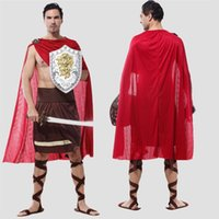 ancient roman clothing - High Quality Men Ancient Roman Warrior Costumes Masquerade Party Cosplay Male Performance Clothing Armour Outfit SW0327