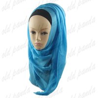 Wholesale Solid Color High Quality Viscose Hijab Shawl Scarf Arab Shimmer Oversized Maxi Neck Shiny Glitter Scarves Muslim Women
