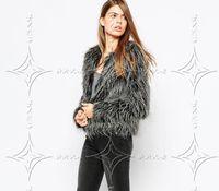 Wholesale Fake ostrich feather coat women Fluffy warm long sleeve female outerwear Black chic autumn winter coat jacket hairy overcoat