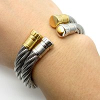 american wire cable - New Fashion Heavy Charming Women Men s L Stainless Steel Cable Wire Cuff Banlge Silver Gold Gift