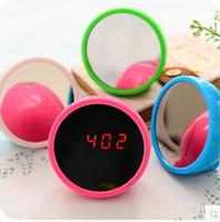 asia radio - Creative mirror lazy quiet small alarm clock South Korean cute alarm clock contracted fashion multi functional bedside clock