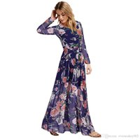 beauty wholsale - Beauty Womens Long Sleeve Chiffon Floral Owl Printed A Line Party Prom Dress Ball Gown Wholsale Plus Size ok