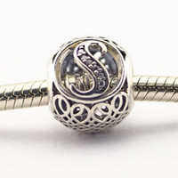 Wholesale Vintage S Clear CZ Sterling Silver Bead Fit Pandora Fashion Jewelry DIY Charm Brand
