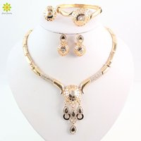 australia plants - New Design Dubai Women Fashion Jewelry Set Australia Crystal k Gold Plated Chunky Necklace Bangle Wedding Bridal Jewelry Sets