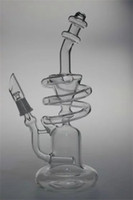 Wholesale The Typhoon Spiral Coil Recycler Rig Oil Rigs Dab Rigs Bongs Bong like an hourglass with mm male joint Hookahs