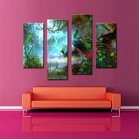 beautiful lake homes - LK472 Panel Two Peacocks Walk In Forest Near The Lake Beautiful Wall Art Painting The Picture Print On Canvas Animal Pictures For Home