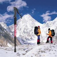 Wholesale Four Section Straight Shank Alpenstock Aluminum Alloy Walking Stick Outdoor Climbing Tools