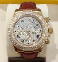 NUEVO 2015 HOT- el nuevo oro de lujo 18k Rose del diamante pavimenta el dial 116509 del diamante El deporte Wr de los hombres automáticos de la correa de cuero del reloj del Mens