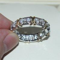 band eternal - Brand Jewlery Women Silver Simulated Diamond Cubic Zirconia Tanzanite Yellow Gold Cross Eternal Band Wedding Ring