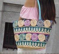 Wholesale Factory direc Shipping summer Free straw bag leisure beach bag fashion color rattan woven Ladies Handbag Shoulder Bag Handbag leisure travel