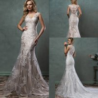 Wholesale 2016 Lace Wedding Dresses Mermaid Trumpet Amelia Sposa Bridal Gowns With Scoop Sheer Tulle Back Covered Button Court Train Custom Made