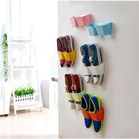 bamboo shoes rack - Wall Mounted Sticky Hanging Shoe Holder Hook Shelf Rack Organiser Accessories Storage Holder