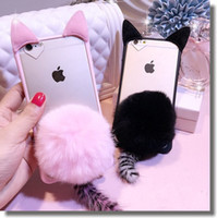 animal skin fur - New Lovely Transparent Iphone6 s Plus Cute Animal Kitten Ears Cases iphone s Skin Cover With Rabbit Fur Ball Cat Tail Pendant