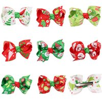 Wholesale 192pcs Fashion Baby Girl Christmas Grosgrain Ribbon Hair Bows Children Hair Accessories Baby Hairbows Girl Hair Bows WITH CLIP B054