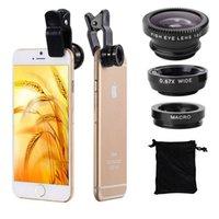 achat en gros de xiaomi objectif grand-3 en 1 Fish Eye Lens Grand Angle Macro Fisheye Kit Objectif Universel Pour iPhone 4 5 6 Pour Samsung Pour HTC Xiaomi Lenovo Camera