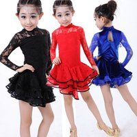 Wholesale kid girls latin dance costumes dresses long seelve Ballroom Dance Costume Lace Latin Dance Dress For Girls Children s Competitions dress