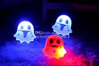 Wholesale 2016 Halloween Children Toys Gifts Brooches Ghost Pumpkin Led Luminous Skeleton Ghost Head Badge Cosplay Decoration E1319