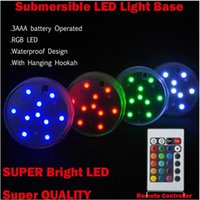 Wholesale 2016 RGB Multi Color Vase Light Base Submersible Underwater LED Lights Remote Control for Wedding Party Festival Decoration