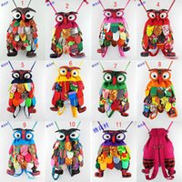 baby features - New owl Cloth art Patchwork bag cotton baby kids school bags Backpacks With National Feature Colors Choose DHL shipping C774