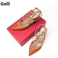 best women s shoes - Geili Brand Best Quality women s shoes genuine leather Pumps Rivet shoes Women rivet shoes High heeled shoes Sandals