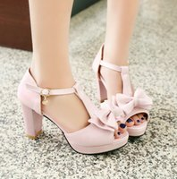 Wholesale 2016 new summer heel sandals bow shoes with thick sweet fish mouth shoes with the shoe bag a student