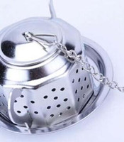 Wholesale 60sets Stainless Steel Silvery Teapot Shape Tea Infuser Strainer tool