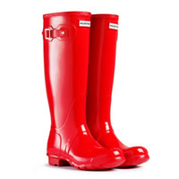 Wholesale Supply Bags Best Selling Ms glossy Hunter Wellington Rain Boots Glossy Matte Wedges Straight Barrel Low Heel Welly Boots Size US