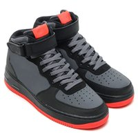 men high top shoes - FORCE MID AF1 Black and red Good quality high top shoes Men shoes Size