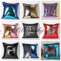Wholesale Fedex DHL Free Pillow Case Tone Color Sofa Pearl Sequin Pillowslip Reversible Iridescent Glow Mesmerized Pillow Covers Home Decorative Z65