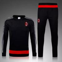 Wholesale Top quality Discount AC milan Survetement Football Training Suit Top Jerseys Olympique De Training Jogging Soccer Tracksuit pants
