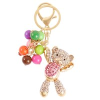 belly bag purse - 2016 Hot Fashion Bear Pink Belly Arm Move Bead Cute Charm Pendant Crystal Purse Bag Key Chain Gift