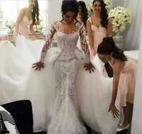 Cheap Middle East 2016 Wedding Dresses Mermaid Bridal DressTrailing Sexy Lace Overskirts Berta Bridal Wedding Gowns Luxury Plus Size Detachable