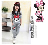 Cheap 2016 autumn winter girls clothing sets cartoon minnie mouse children's wear cotton casual tracksuits kids clothes sports suit