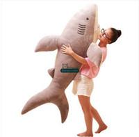 al por mayor juguetes de peluche de tiburón-Dorimytrader 160cm JUMBO suave simulado Tiburón animal de juguete de felpa 63 '' enormes tiburones rellenos Kids Play de la muñeca de la almohadilla del bebé DY61355 regalo