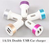 aluminum circular - 2A Charger Circular Aluminum alloy Color ring Dual Port USB Car Charger Universal Adapter for iphone Samsung Cell Phone DHL