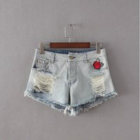Wholesale 2016 High Quality Women Red Rose Embroidery Denim Shorts Summer Washed Vintage Hole Shorts Light Blue jeans
