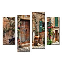 arts window frames - Amosi Art Pieces Wall Art Streets Of Old Mediterranean Towns Flower Door Windows Painting The Picture Print For Home Decor Wooden Framed