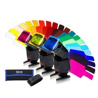 Wholesale F14540 Selens SE CG20 Flash Color Gels filter Kit for Speedlite with Gel band Organized Storage Pouch Studio Accessories
