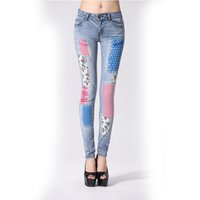 100 cotton jeans for women - Graffiti Jeans For Women Jeans Woman Denim Pants Skinny Flag painted Jeans Slim Cotton Painted Gradient