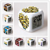 Wholesale Minions Alarm Clock Touch Colorful Changing Diamond Sword Alarm Clock LED Colors Change Digital Alarm Clock Night Light DHL