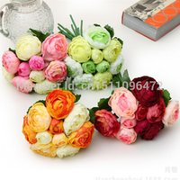 Wholesale 1 Bunch heads Bouquet Rose Flower Artificial Silk Camellia Flower for Wedding Decoration or As A Bridal Bouquet